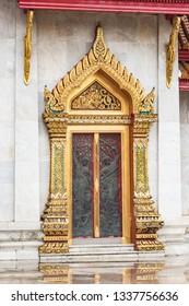 Stunning ornate Door at Wat Benchamabophit, the Marble temple Bangkok