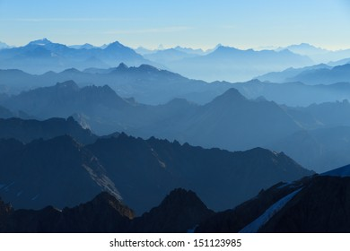 Stunning panorama  in the Alps with a majestic view on the high peaks of the Ecrins Massif National Park, France.