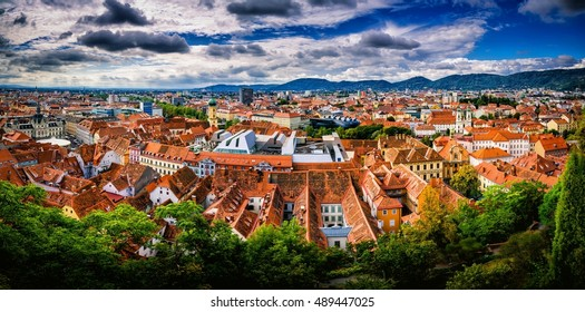 Stunning panorama of Graz city in Austria