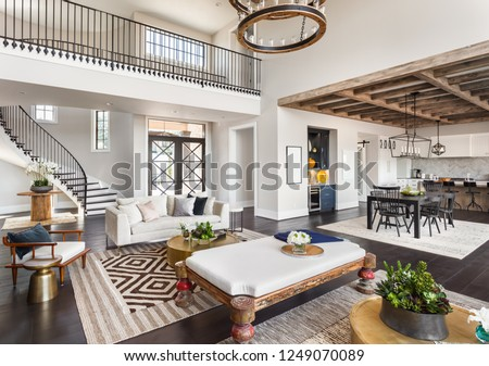 Stunning Panorama Luxury Home Interior Open Stock Photo Edit Now
