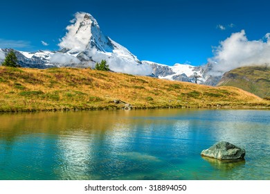 Stunning panorama with Matterhorn and beautiful alpine lake,Leisee,Valais region,Switzerland,Europe