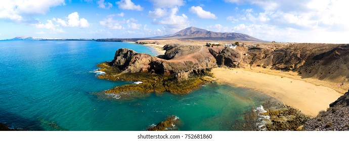 Stunning panorama of the Papagayo coast. Lanzarote. Canary Islands. Spain