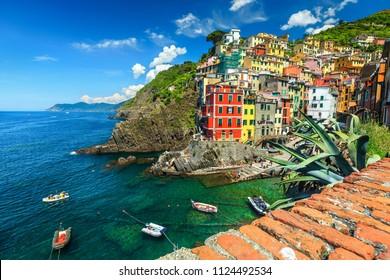Stunning panorama of Riomaggiore touristic village in Cinque Terre National Park, Liguria, Italy, Europe