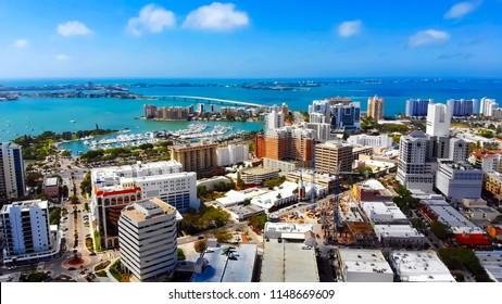 Stunning panoramic aerial view of downtown Sarasota, John Ringling Causeway, Sarasota Bay, Lido Key and Longboat Key.