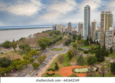 stunning panoramic view cityscape of the city of Rosario, Argentina. It is the largest city in the province of Santa Fe, in central Argentina.