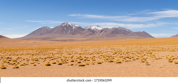 Stunning panoramic view of famous wild Siloli Desert. Beautiful landscape of spectacular Bolivian Andes and the Altiplano along the scenic road between Salar de Uyuni and Laguna Colorada, in Bolivia