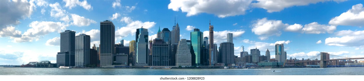 Stunning panoramic view of Manhattan Skyline, New York, USA. Panoramic Skyline with skyscrapers and financial district. 10/04/2018