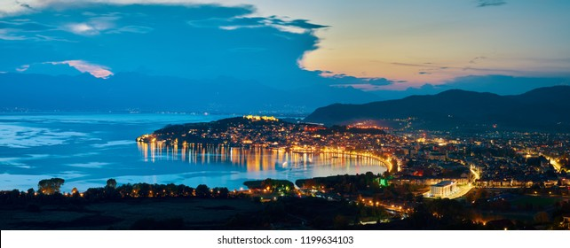 Stunning panoramic view of Ohrid city and Ohrid lake on twilight.  The town and the whole region are under UNESCO world heritage. The best place for your holiday in Macedonia.