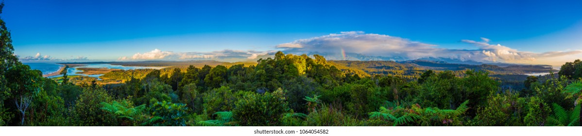 Stunning panoramic view from Okarito lookout  to the native bush countryside, West Coast, New Zealand