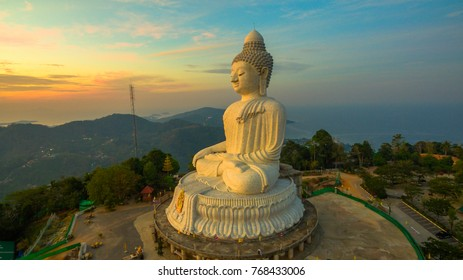 Stunning panoramic view of Phuket big Buddha in the morning