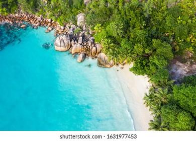 Stunning Paradise Anse Lazio beach in Praslin Island in Seychelles drone view
