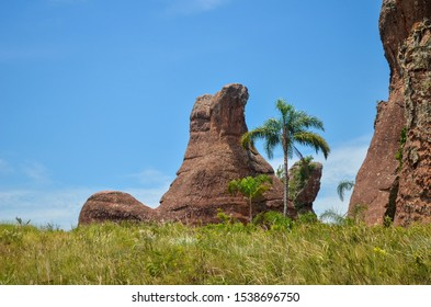 Stunning photo of old untouched geological site in tropical forest during summer in Brazil