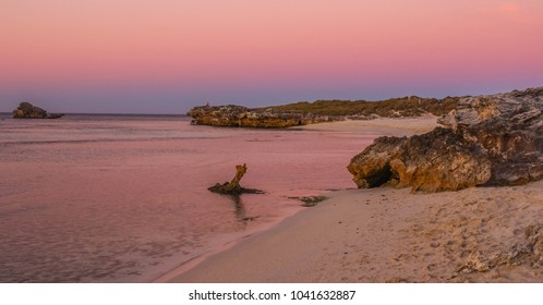 Stunning pink and blue sunset skies in Pinky Beach on Rottnest Island in Western Australia