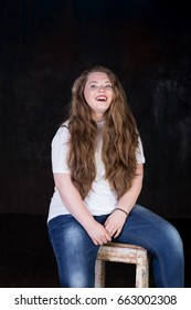 Stunning plus size teenage red head, long beautiful hair, big toothy smile, positive energy, sweetheart, big girl, enigmatic, happy and sweet young female