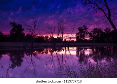 Stunning pre-dawn light over the Murrumbidgee River near the city of Wagga Wagga in New South Wales