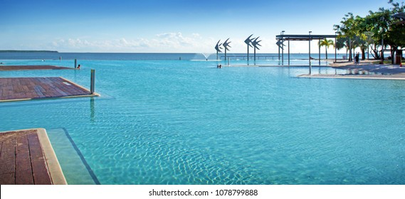 Stunning Public Swimming Pool   Cairns Lagoon   On The Edge Of The Coral Sea  In