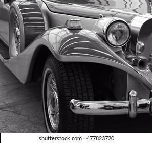 Stunning retro car. Stylish vehicle. Nostalgia of past time. Close up. Black and white photography. Minsk. Belarus. East Europe - 23 February, 2016