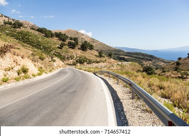 Stunning road along the Adriatic sea in Albania between Vlora and Saranda in the Balkans in Southern Europe