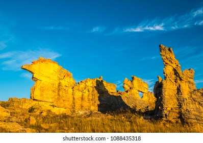 Stunning rock formations, Isalo National Park, Madagascar. Known for its wide variety of terrain, including sandstone formations, deep canyons, a palm-lined oases, and grassland, and rich wildlife