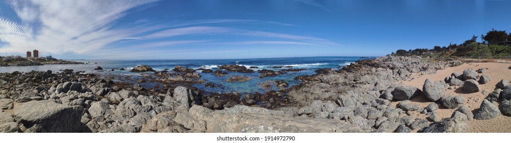 Stunning Rocky Beach of Isla Negra( El Quisco, Chile), resting place of Pablo Neruda famous chilean writer.