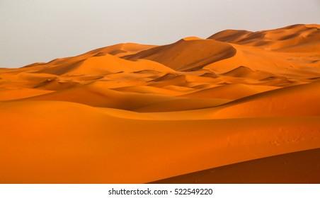 Stunning sand dunes of Sahara desert in Merzouga, Morocco