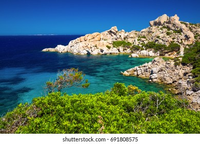Stunning Sardinia coastline with rocks and azure clear water, Sardinia, Italy.