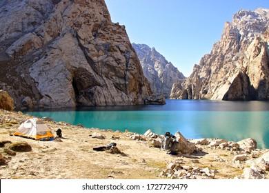 A stunning shot of Kul Suu Lake in Southern Kyrgyzstan
