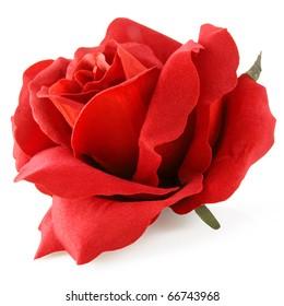 Stunning silk rose in red isolated on white