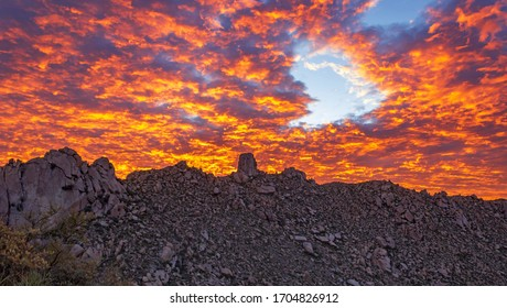 Stunning Sky On Fire Sunset in the McDowell Mountains Near Scottsdale, Arizona