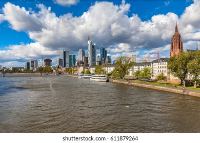 Stunning of the skyline of Frankfurt am Main with skyscrapers and mordern buildings on the river bank of Main, with magnificent cloudscape, Hesse, Germany
