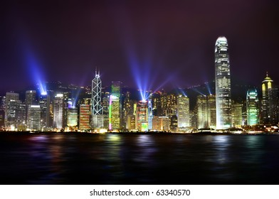 The stunning skyline of Hong Kong at nighttime.