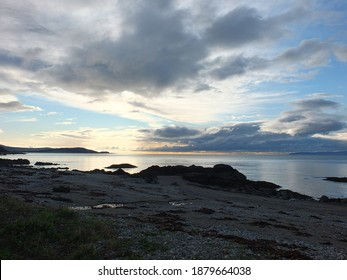 a stunning skyline looking from the Isle of Arran towards the Mull of Kintyre,Scotland.