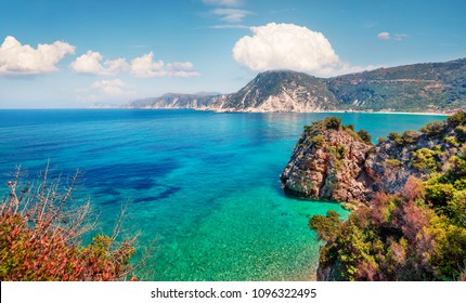Stunning spring view of Agia eleni beach. Colorful morning seascape of Mediterranean Sea. Bright outdoor scene of Kefalonia island, Greece, Europe. Traveling on Ionian Islands.