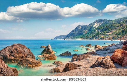 Stunning spring view of Avali Beach. Picturesque morning seascape of Ionian sea. Wonderful outdoor scene of Lefkada Island, Greece, Europe. Beauty of nature concept background.
