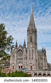 stunning St. Colman's Cathedral in Cobh, Ireland (dramatic sky clouds)