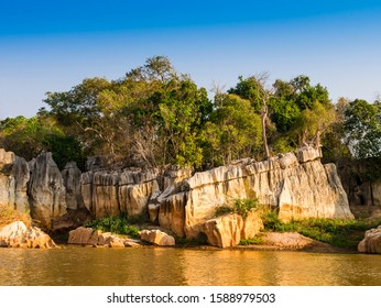 Stunning stone formations reflected on Manambolo river, Tsingy de Bemaraha Strict Nature Reserve, Madagascar