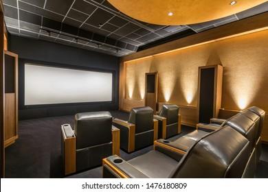 Cine en casa de diseño impresionante. Diseño de cine en casa de lujo