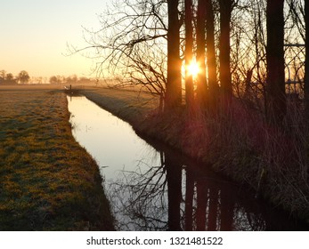 stunning sunrise through trees on a riber in the Netherlands