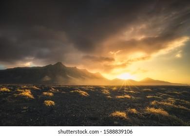 Stunning sunset behind cofete mountains