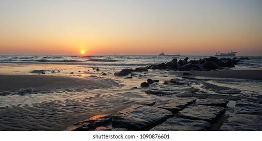 Stunning sunset at Blankenberge Belgium North sea coast