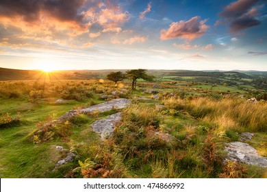 Stunning sunset from Combestone Tor on Dartmoor in Devon