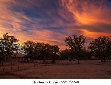 Stunning Sunset at the Etosha-Nationalpark in northern Namibia during summer