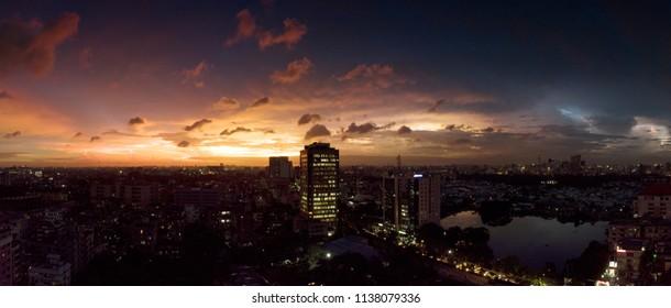 Stunning sunset from Gulshan Area at Dhaka, Bangladesh