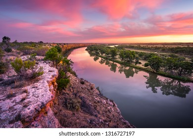 Stunning sunset on the Murray River, South Australia