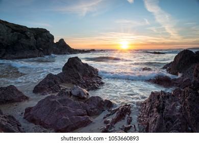 Stunning sunset over the beach at Freshwater West at Castlemartin on the Pembrokeshire Coast National Park in Wales