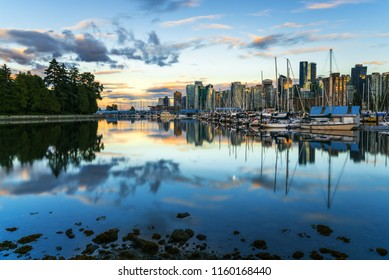 Stunning Sunset over Coal Harbour and Downtown Vancouver  on a Summer Day. British Columbia, Canada.