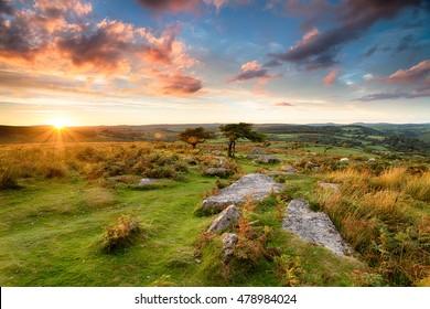 Stunning sunset over Dartmoor from Combestone Tor near Hexworthy
