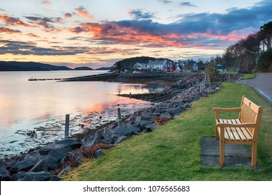 Stunning sunset over the fishing village of Shieldaig near Applecross on the NC500 tourist route in Scotland