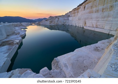 Stunning sunset over Marble lake near Prilep town in Macedonia. Drone photography.