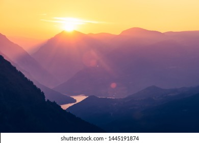 Stunning sunset over mountain with beautiful view on river valley. Amazing nature in Tara national park in Serbia.